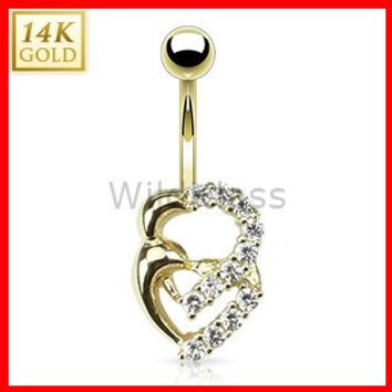 14k Solid Gold Ring 14g Belly Button Ring Double Heart Multi CZ 14k Yellow Gold 14g Navel Ring Jewelry Belly Jewelry