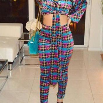 Blue Plaid Pattern Lace-up High Waisted Lantern Sleeve Two Piece Clubwear Long Jumpsuit