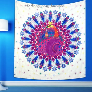 Colourful Indian Peacock Feather Mandala Tapestry Bedspread Wall Hanging Hippie Dorm Decor Ethnic Throw
