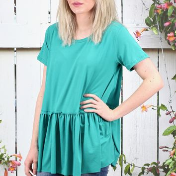 Suedette Peplum Short Sleeve Top {Jade} EXTENDED SIZES