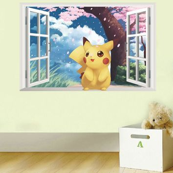 Pikachu window Wall Stickers for Kids Rooms Home Decorations Pokemon Wall Decal Amination Poster Wall Art Wallpaper