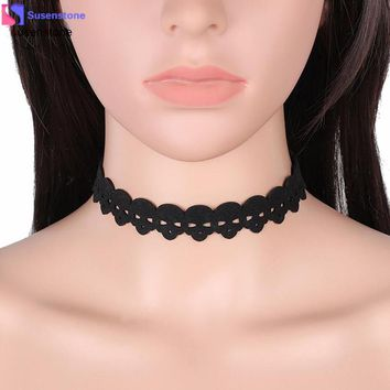 SUSENSTONE Black Gothic Lace Choker Necklaces Fashion Retro Collar Lace Snowflake Pendant Chain Necklace Jewelry