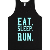 Eat. Sleep. Run.-Unisex Black Tank