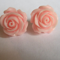 Shabby Chic Light Pink Rose Rosette Flower Earrings Post Earrings Stud 15mm