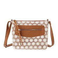 Cognac Crochet & Faux Leather Cross-Body Bag by Charlotte Russe