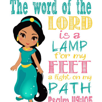 Princess Jasmine Christian Nursery Decor Art Print - The Word of the Lord is a Lamp for my Feet - Psalm 119:105 Bible Verse