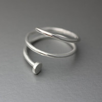 925 Sterling Silver Nail, Spike adjustable ring