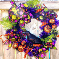 Halloween Wreath Holiday Home Décor Pumpkins Black Orange Green Halloween Wreath