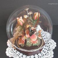 Vintage Preserved Butterfly, Glass Globe Dome Display / Terrarium