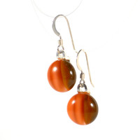 Salmon Pink and Brown Dangle Earrings, Fused Glass Earrings also in Blue and Tan, Sterling Silver Hooks