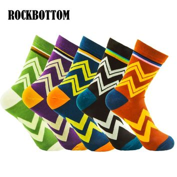 2018 New style Fashion Colorful Cotton Warm Men Baseball Breathable Absorbent Happy Socks Wave Stripes Classic Sock 5 Colors