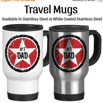 Number One Dad, Rock Star Father, I Love You Dad, Best Dad Ever, Birthday Gift For Dad, Father's Day Gift, Travel Mug, Star, Red