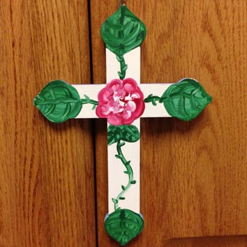 Hand Painted Cross Rose with greenery and blue with Purple Heart design - Christian home decor- christmas -christmas decor - holiday - cross