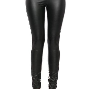 Faux Leather Pants With Back Pockets