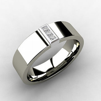 Titanium wedding band, White Gold, Diamond, Titanium ring, wedding band,  men, unique, commitment, Promise, men wedding band, ring for men