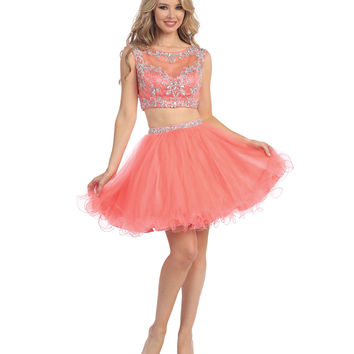 Coral Beaded Illusion Cropped Two Piece Tulle Short Dress 2015 Homecoming Dresses