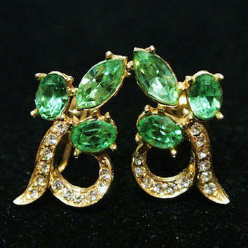 Vintage Wiesner Earrings Vaseline Glass Mid Century 1950s Rhinestone Designer Joseph Wiesner NY Screw Back Earrings UV Uranium Glow in Dark