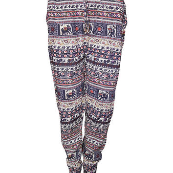 Jersey trouser ladies Indian Elephants printed womens harem pants cuffed leggings pocket trousers