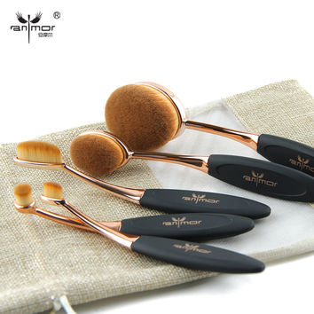 Rose Gold 10 pcs/5 pcs Tooth Brush Shape Oval Makeup Brush Set MULTIPURPOSE Professional Foundation Powder Brush Kit with Bag