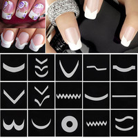 French Manicure DIY Nail Art Tips Guides Stickers Stencil Strip