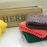 Knit Wash Clothes - 100% USA Cotton - Autumn Tones - Dish Rag - Brown Green Orange Washrags