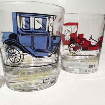 Vintage Car Tumblers Set of 8, Automobile Glasses, Set of 8 Hazel Atlas Drinking Glasses Car Glasses, Retro Barware, Mid Century Barware
