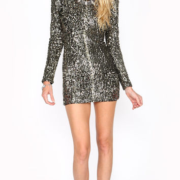 GOLD SEQUIN OPEN BACK PARTY DRESS