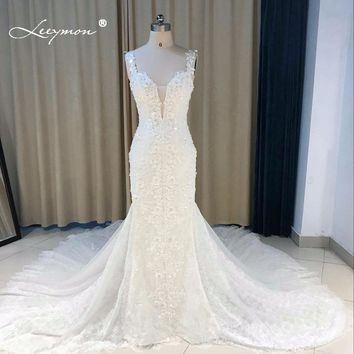 Leeymon 2018 Custom Made Sexy Charming Applique Bridal Gowns Mermaid Lace Wedding Dress Backless Trumpet Bridal Dress Plus Size