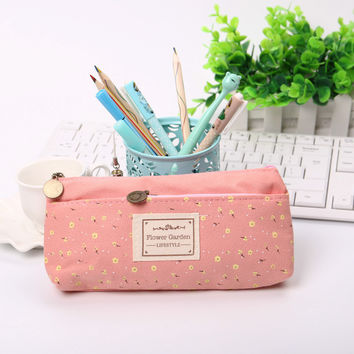 4 Colour Double Zipper Pencil Cases Pencils Portable Student Stationery Storage Pencil Bag for School Office Supplies 1pcs