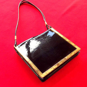 Black Shoulder Bag, Black and Gold Designer Handbag, Womens Vintage Purse, Evening Bag, Patent Leather Bag