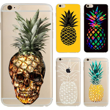 Phone Case Cute Skull Fruit Pineapple Cartoon Soft silicon TPU Gel Case Cover for iPhone 7 7plus 6 6S 6plus 6splus 5 5S SE