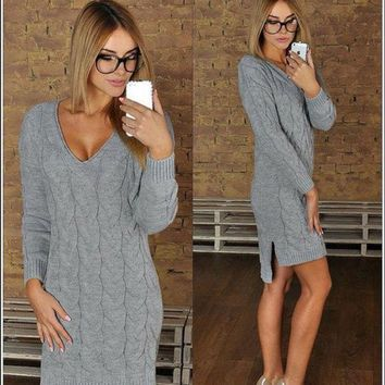 PEAPON Fashion V-neck knit sweater dress-1