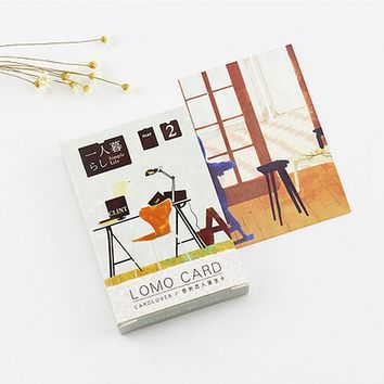 28 pcs/set Household sofa furniture mini Sweet Cakes card greeting card lomo memo card kids gift postcard kawaii stationery