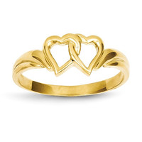14k Yellow Gold Solid Double Heart Ring