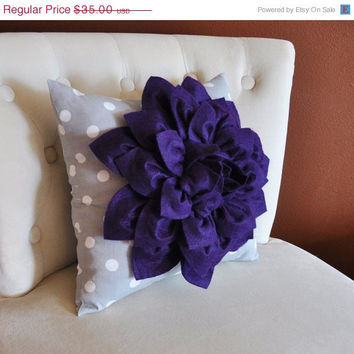 MOTHERS DAY SALE Purple Dahlia Flower on Gray Polka Dot Pillow Accent Pillow Throw Pillow Toss Pillow Decorative Pillow