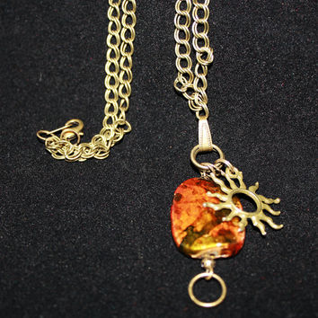 Antique Brass Sun Necklace, Sun Jewelry