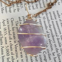 Crystal Jewelry - Fluorite Necklace - Purple Fluorite - Healing Necklace - Gold Necklace - Wire Wrap - Bohemian Jewelry - Bridal Jewelry