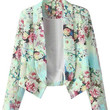 Floral Long Sleeve Cropped Blazer