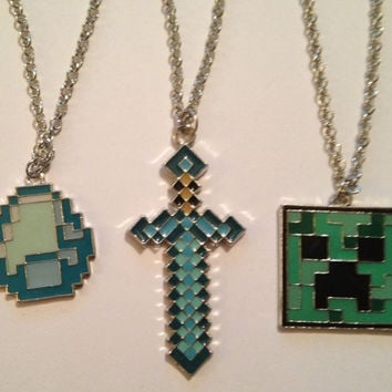 Minecraft inspired Handmade Necklace /s Minecraft Necklace Fandom Jewelry