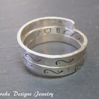 Sterling Silver Hidden Infinity Ring Personalize ring initial heart ring