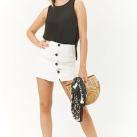 Button-Front A-Line Mini Skirt