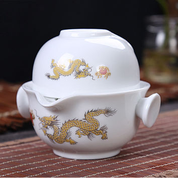 Chinese Traditional Gaiwan Tea set Include 1 Pot 1 Cup, High quality elegant Kung Fu teacup,Beautiful and easy teapot kettle