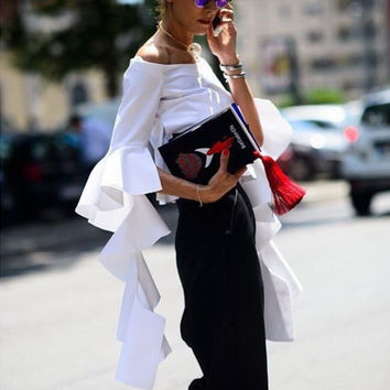 White Off the Shoulder Long Flounced Ruffles Sleeve Blouse