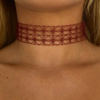 Intricate Choker In Burgundy