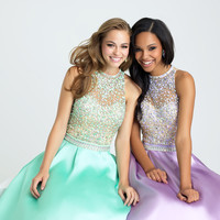 Madison James 16-397 High Neck Jeweled Mikado Ballgown Prom Dress