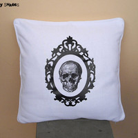 "Baroque Skull black & white 16"" x 16"" throw pillow cover - anatomy skeleton, baroque frame, black and white, accent pillow"