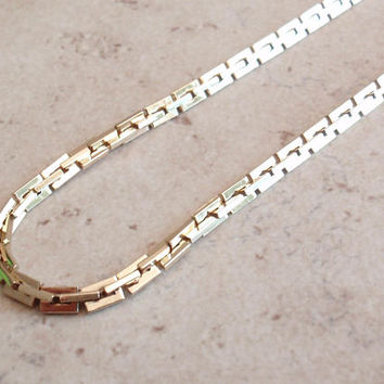 Sarah Coventry Chain Necklace Gold Tone Square Box 18 Inch Vintage V1034L