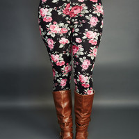 Rose Print Leggings | Wet Seal+