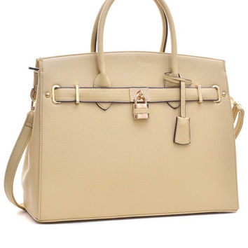 Trendy Satchel Large Adjustable Tote Beige Quality Embossed Style Diva Handbag