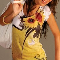 yellow sunflower tie dye tshirt women  beautiful by nikacollection